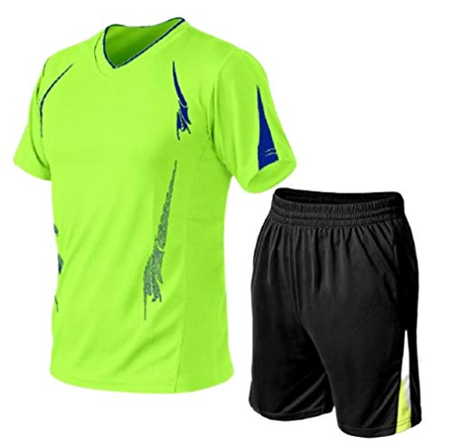 Aooword Mens Workout Fitness Gym 2 Piece T Shirts Short Pants Sweatsuit Set Fluorescent Green 6XL (Green Pant Set Cropped)