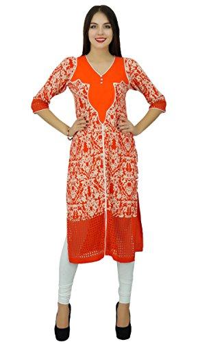 Bimba les d'orange rayonne imprimée dames Kurti droites kurta manches 3/4 inde Orange