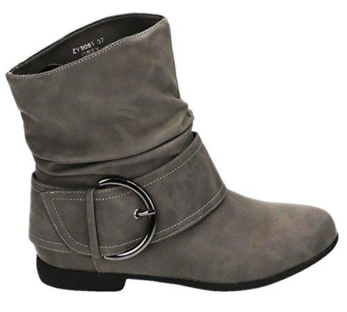 King Of Shoes Damen Stiefeletten Stiefel Boots Flache Schlupfstiefel Schnallen Winter Schuhe Warm Gefüttert 91-2 Grau