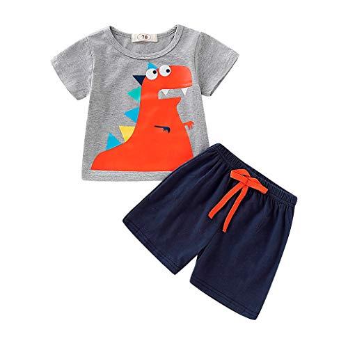 Kleidung Für Kinder Baby Jungen Bekleidungssets Pwtchenty Kurzarm Cartoon Print Dinosaurier Tops Shirt + Pants Outfits Set -