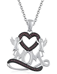 "Silvernshine 1.35 Ct Red Garnet Mom Heart Pendant 18"" Chain Necklace In 14K White Gold Fn"