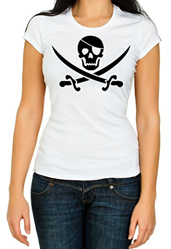 Pirate Skull and Cross Swords T-shirt for Women. S to XXL