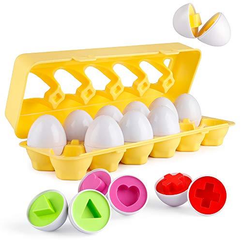 Coogam Set di 12 Uova abbinate Colore e Forma Riconoscimento Sorter Puzzle per Pasqua Viaggio  tombola  Gioco  Presto Apprendimento educativo Ottima abilità motoria  Regalo Montessori