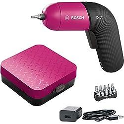 Bosch visseuse sans fil IXO (6e génération, rose, rechargeable avec câble micro USB, variateur de vitesse, dans coffret)