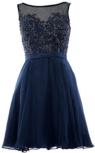 MACloth Women Bateau Lace Short Homecoming Cocktail Dress Evening Party Gown Dunkelmarine