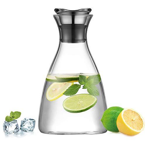 ecooe Glaskaraffe 1500ml (Volle Kapazit?t) Glaskrug aus Borosilikatglas Wasserkrug mit Edelstahl Deckel Karaffe Glaskanne mit Bl¨¹tenblatt Edelstahldeckel ...