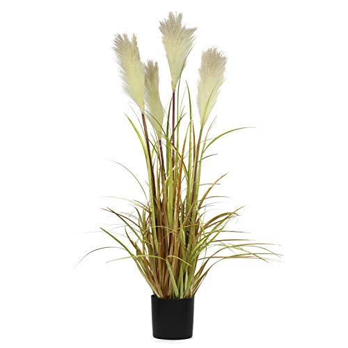 anzen für Zuhause, Innendekoration, draußen, Fast natürlich, groß, künstliche Topfpflanzen mit schwarzem Blumentopf, Büro, Boden, dekoratives Schilfrohr-Gräser, Geschenk ()
