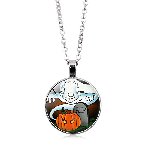 Blisfille Halloween Kürbis Zeit Edelstein Halskette Mode Anhänger Halskette Festival Herren Damen Fest (Halloween Ghouls Hängen)