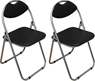 Harbour Housewares Black Padded, Folding, Desk Chair - Pack of 2 - inexpensive UK chair shop.