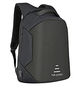 Fur Jaden Black Anti Theft Backpack with USB Charging and Music Aux Wire Extension