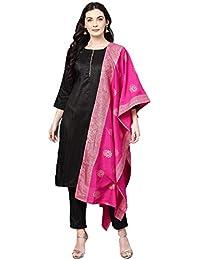 Cenizas Women's Faux Silk Kurta with Palazzo Pant & Embellished Dupatta Set