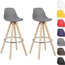 Woltu® # 5102x Taburete de bar Juego de 2Silla de bar de madera y plástico) con respaldo silla cocina diseño silla Selección de Colores 2 unidades gris