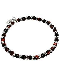 Cloto summer vibes Red Saturday bracciale con pietre Occhio di tigre rosso 4mm e charm in argento 925 My Silver