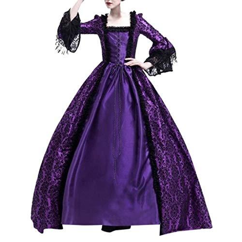 Sasstaids Damen Club-Kleid Langarm Mittelalter Kleid Gothic Viktorianischen Königin Kostüm V-Ausschnitt Prinzessin Renaissance Bodenlänge Mehrfarbig Kleid - Rote Königin Übergröße Kostüm