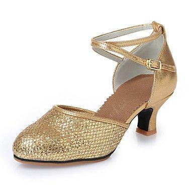 Silence @ Chaussures de danse pour femme moderne Chaussures en similicuir Paillettes Latin talons Chunky Talon d'intérieur doré argenté 5.5cm Semelles en caoutchouc M275M285 Silver