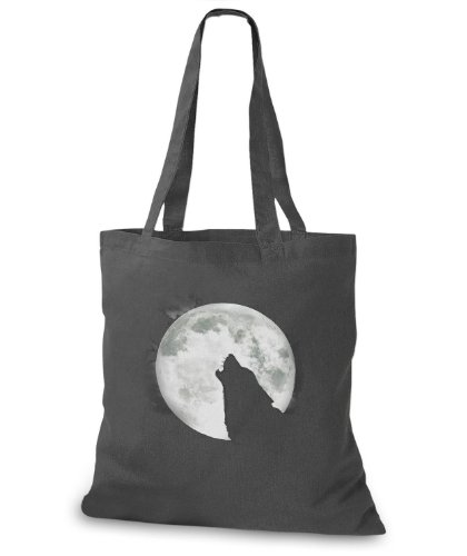 Stylobags Jutebeutel / Tasche Wolf With Moon Darkgrey