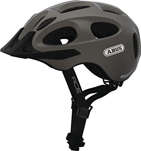 ABUS YOUN-I ACE 2019 Unisex Fahrrad Helm Radhelm LED Rücklicht IN- MOLD Bauweise(metallic silver,M (52-57cm Kopfumfang))
