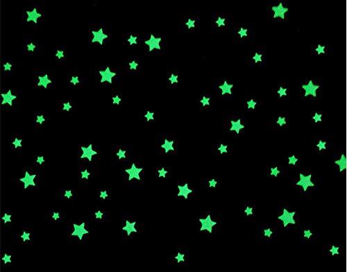Indigos - 100 Leuchtsterne 3D floureszierend für Sternenhimmel, richtige Sterne - ideal für Kinderzimmer und Schlafzimmer -