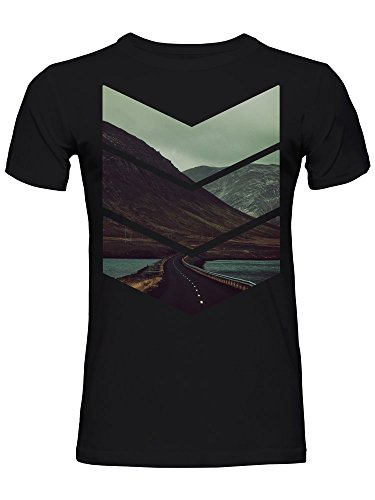 Fjord Road Mountain Lake Freedom Military Stripes Men's T-Shirt Medium (Stripe T-shirt Mountain)