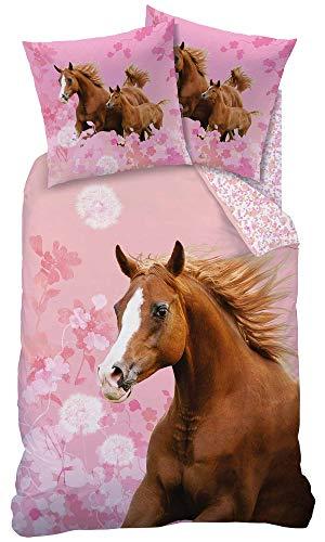 Matt&Rose Pferdebettwäsche 135x200 Mädchen 80x80 cm Baumwolle 100{d4704710c750c4bb3a479d924d6ee53f94f2bb1145a24aa3a479c08933c6ed68} Kinder Bettwäsche Set Mädchen Wende-Bettwäsche rosa, braun, Blumen, Horse