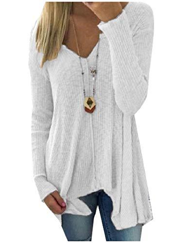 CuteRose Women's Handkerchief Hem Oversized K Long-Sleeve Knitting Tunic Top White M -