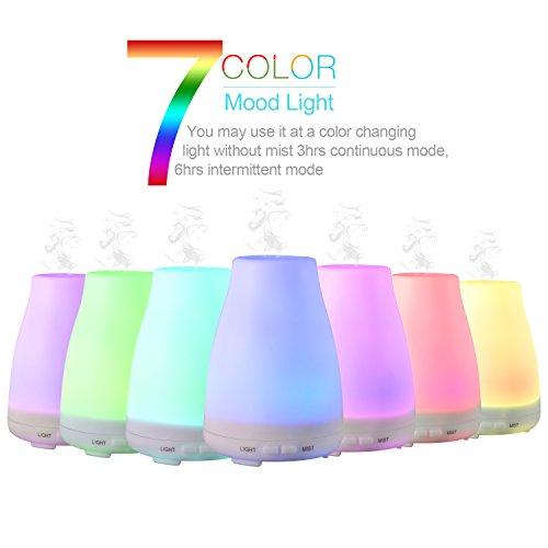 LESHP - 100ml Difusor de Aceites Esenciales Humificador Aromatizador (led multicolor, apagado...
