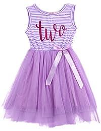 IWEMEK Baby Girls Toddler Kids Princess Striped 1st 2nd 3rd Birthday Cake Smash Shiny Printed Party Sleeveless Tulle Tutu Dress