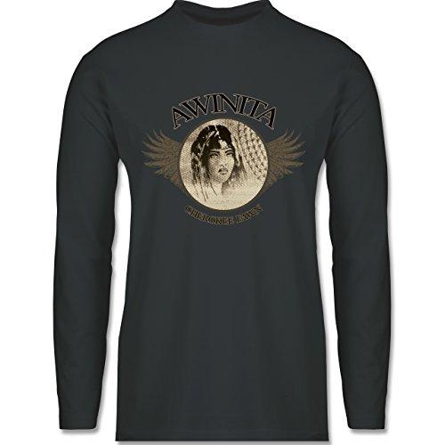 Shirtracer Vintage - Awinita - Cherokee Mädchen - Herren Langarmshirt Dunkelgrau