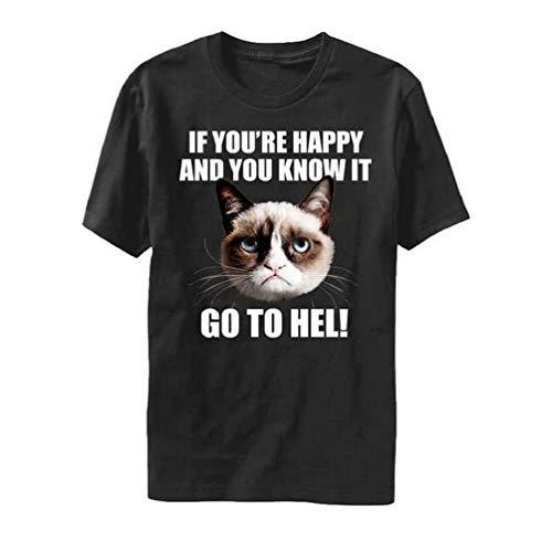 Grumpy Cat If You're Happy Camiseta negra para hombre | 2XL