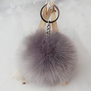 Artistic9(TM) Rabbit Fur Ball Keychain Bag Plush Car Key Ring Car Key Pendant (Gray)