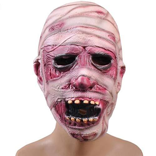 Halloween Weihnachten Horror Grimasse Maske Ghost Festival Latex Maske Scary Gruselige Maske Ghost Zombie Mumie Maske Masken (Color : Pink, Size : 25CM/10inch)