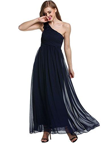 Zearo Elegante Abendkleider Damen Partykleider Lang Eine Schulter Brautkleid Ärmellos Hochzeitskleid Dunkelblau