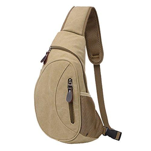 Männer Brust Leinwand Taschen Lässig Schulter Messenger Reise Reise Tour Handtasche Tasche Gepäck,Khaki - Gepäck Schulter Tasche
