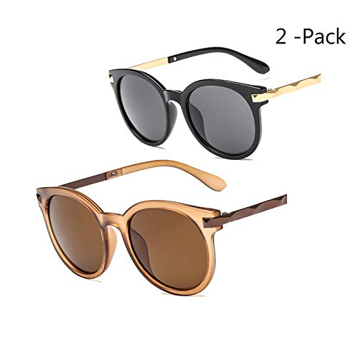 Yiph-Sunglass Sonnenbrillen Mode Vintage Retro Runde Sonnenbrille Spiegel getönten Kreis Objektiv Männer Frauen 2 Pack Zubehör