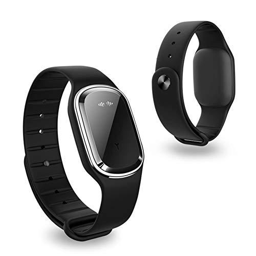 ellent Bracelet Intelligentes Armband-Repellent Wiederaufladbares wasserdichtes Bio-Sound-Repellent-Moskito für drinnen und draußen,Black ()
