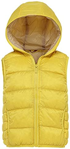 Santimon Boys Girls Waistcoat Down Jacket Vest Winter Warm Lightweight Hoodie Puffer Quilted Coat Yellow