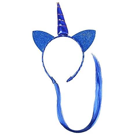 HENGSONG Bleu Bandes de Cheveux de Licorne Enfants Tresses de Perruque Ornements de Cheveux