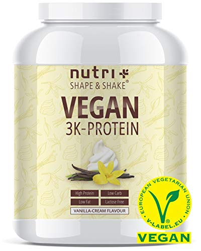 Protein Vegan Vanille 1kg 84,6% Eiweiß - 3k-Proteinpulver - Nutri-Plus Shape & Shake Vanilla Cream - pflanzliches Eiweißpulver ohne Lactose & Milcheiweiß - Made in Germany