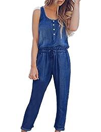 Beautyjourney Combinaison Longue Femme,Femmes Holiday Playsuit Jeans Demin  Taille éLastique Strappy Long Beach Jumpsuit 0165069529a