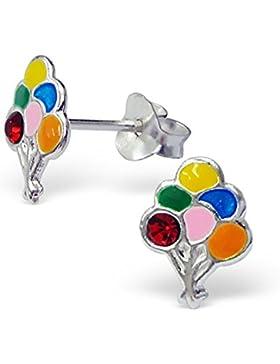 Mädchen Silber Ohrringe Strauß aus Luftballons 925Sterling Silber Ohrringe–mit Geschenkbox -