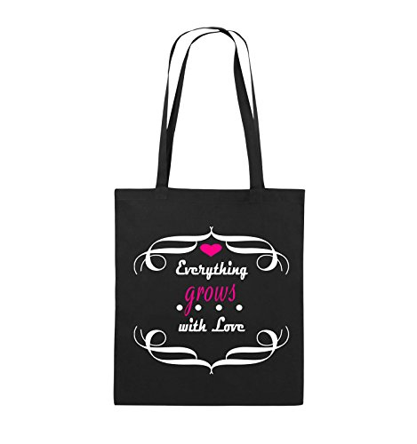 Comedy Bags - Everything grows with Love - Jutebeutel - lange Henkel - 38x42cm - Farbe: Schwarz / Weiss-Neongrün Schwarz / Weiss-Pink