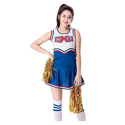 (Meijunter Damen Cheerleader Kostüm - High School Cheer Girl Musical Party Uniform Halloween Schick Kleid Outfit)