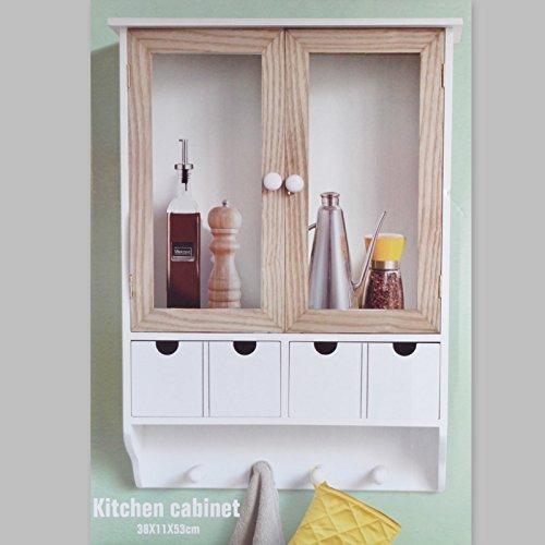 Küchenschrank Wandschrank Hängeschrank 4 Haken 4 Schubladen 2 Glastüren Schrank