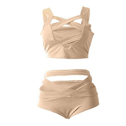 Gogogo Damen Zweiteiler Sexy Bikini Set mit Hohen Taille Kreuz Bindung Badeanzug Aprikose S