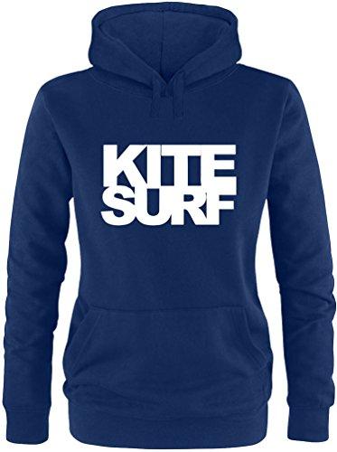 EZYshirt® Kitesurf Damen Hoodie Navy/Weiss