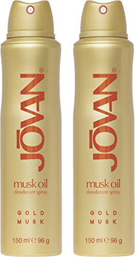 Jovan Gold Musk Deodorant Body Spray for woman, 2er Pack (2 x 150 ml) (Musk Deodorant Body Spray)