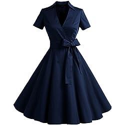 Timormode Robe Années 50's Audrey Hepburn Rockabilly Swing,Plissé Robe à Manches Courtes 10084Navy M