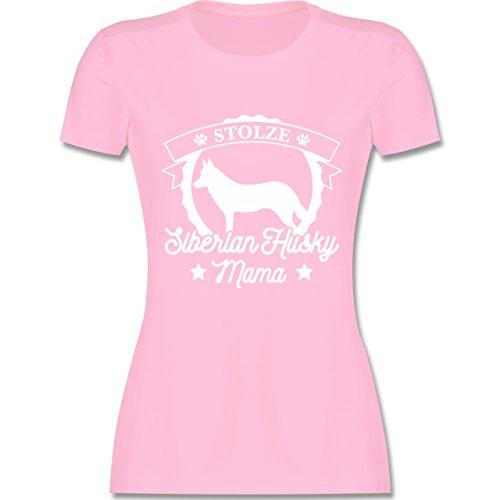 Siberian Husky Hund T-shirt (Hunde - Stolze Siberian Husky Mama - M - Rosa - L191 - Damen Tshirt und Frauen T-Shirt)