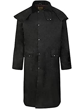 Abrigo de equitación encerado, largo, unisex, marrón antiguo, doble pliegue, impermeable