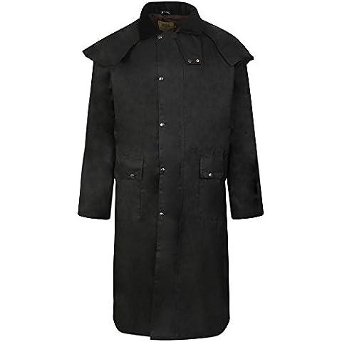 STOCKMANS largo chaqueta absorbente encerado para montar a caballo perchero de pared BLACK-DOUBLE plegable con diseño impermeable de cera para tablas - elija la BEST-CHOOSE de exteriores FENSIDE
